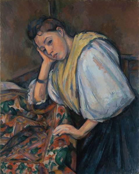 Wall Art - Painting - Young Italian Woman At A Table  by Paul Czanne