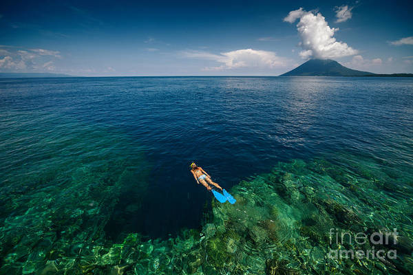 Wall Art - Photograph - Young Lady Snorkeling Over The Reef by Dudarev Mikhail