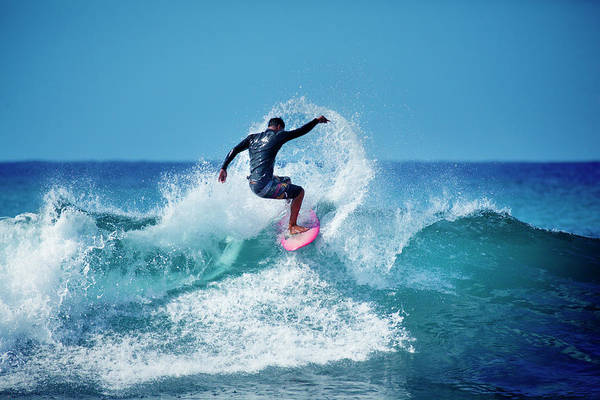 Surfing Photograph - Young Male Surfer Surfing In The Water by Yinyang