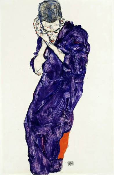 Painting - Young Man In Purple Robe With Clasped Hands by Egon Schiele