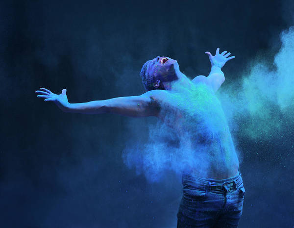Spray Paint Photograph - Young Man In Spray Of Colored Powder by Henrik Sorensen