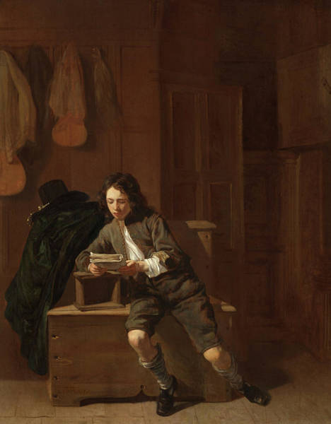 Wall Art - Painting - Young Man Reading by Jacob van Loo