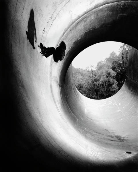 Only Man Photograph - Young Man Skateboarding In Full Pipe by Kirk Edwards