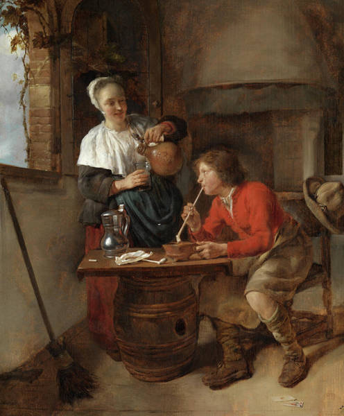 Gabriel Painting - Young Man Smoking And A Woman Pouring Beer by Gabriel Metsu