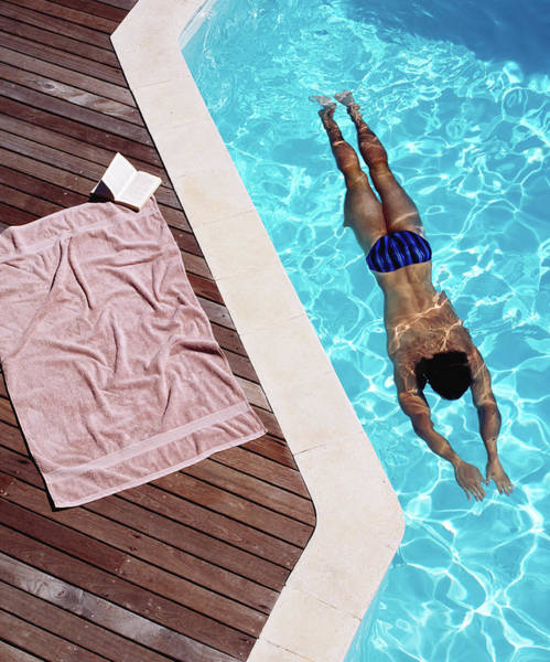 Adult Coloring Book Photograph - Young Man Swimming, Towel And Book At by Kelvin Murray
