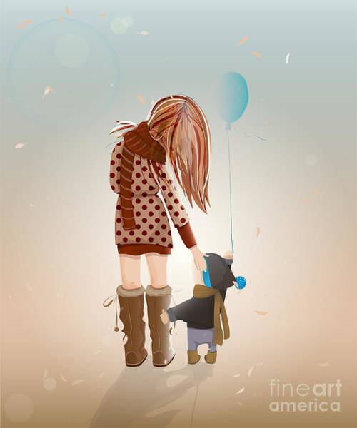Wall Art - Digital Art - Young Mother With A Child Walking by Popmarleo