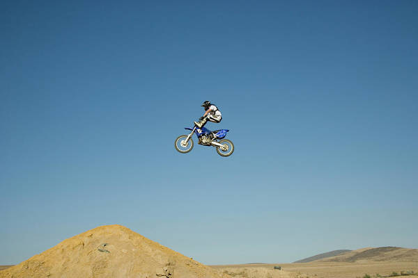 Motocross Photograph - Young Motorcross Biker Performing Jump by Nick Clements