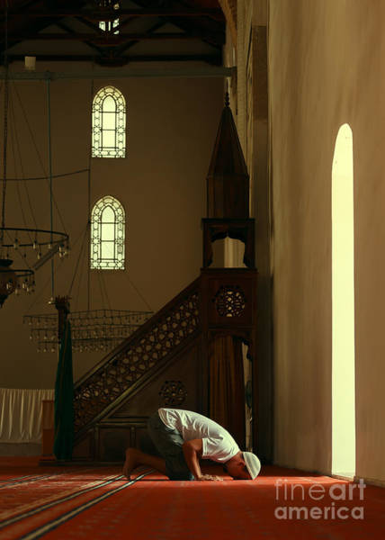Wall Art - Photograph - Young Muslim Man Praying In Mosque By by Saida Shigapova