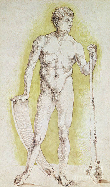 Wall Art - Drawing - Young Nude Man by Albrecht Durer