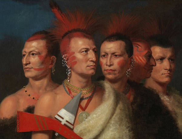 Wall Art - Painting - Young Omahaw, War Eagle, Little Missouri, And Pawnees, 1821 by Charles Bird King