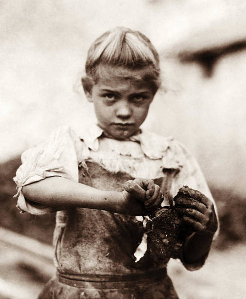 Wall Art - Photograph - Young Oyster Shucker - Lewis Hine - 1913 by War Is Hell Store