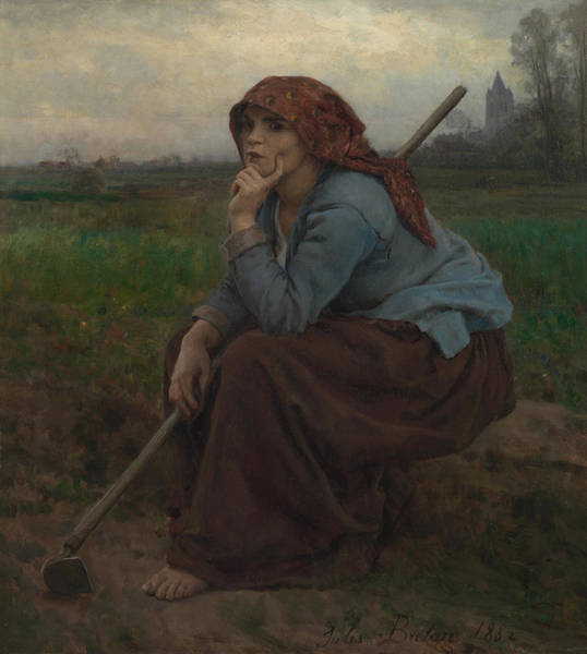 Wall Art - Painting - Young Peasant Girl With A Hoe by Jules Breton