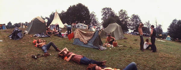 Wall Art - Photograph - Young People Camping Out W. Tents On A G by John Dominis