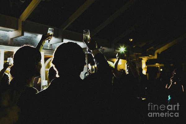 Photograph - Young People Partying Making Toast With Glasses And Drinking Alcohol. by Joaquin Corbalan