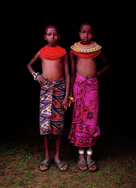 Shirtless Photograph - Young Samburu Girls In Traditional Dress by Harry Hook