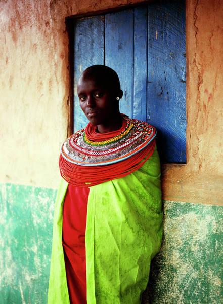 Indigenous People Wall Art - Photograph - Young Samburu Woman Outside Shop by Harry Hook