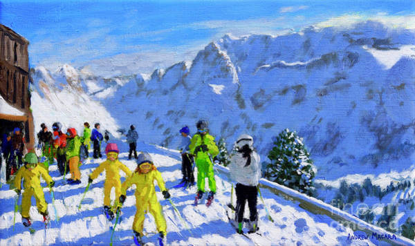 Chalet Wall Art - Painting - Young Skiers In Yellow, Val Gardena, Italy by Andrew Macara