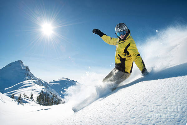 Snowflakes Photograph - Young Snowboarder In Deep Powder - by Im photo