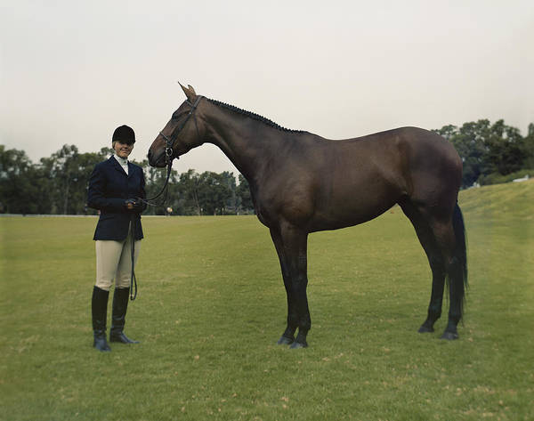 1983 Photograph - Young With Horse Standing On Field by Tom Kelley Archive