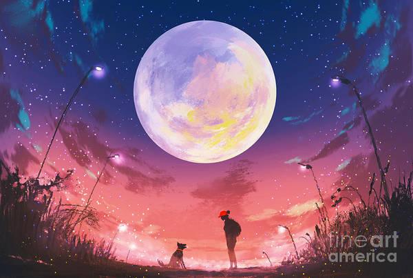 Wall Art - Digital Art - Young Woman And Dog At Beautiful Night by Tithi Luadthong