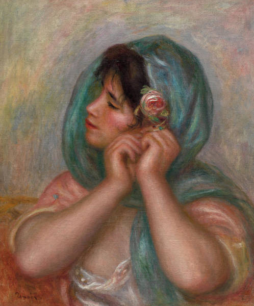 Wall Art - Painting - Young Woman Arranging Her Earring, 1905 by Pierre-Auguste Renoir