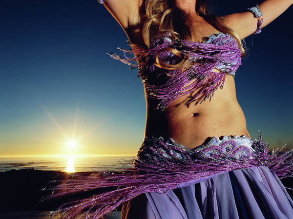 Belly Dancers Photograph - Young Woman Belly Dancing, Sunset, Mid by Chris Cole
