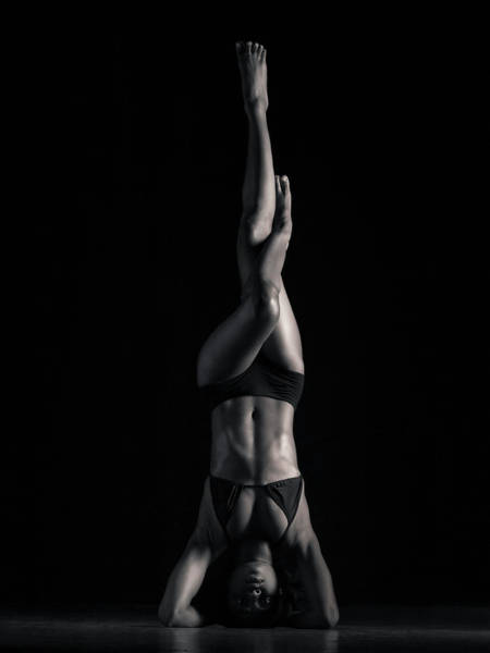 Bikini Photograph - Young Woman Doing Headstand B&w by Mike Powell