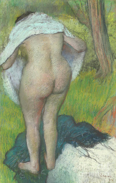 Wall Art - Pastel - Young Woman Dressing Herself, 1885 by Edgar Degas