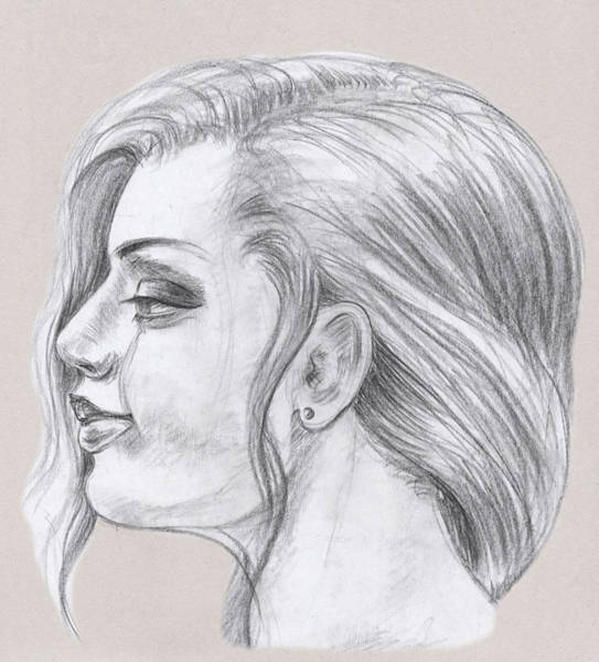 Anatomical Model Wall Art - Drawing - Young Woman Head Study Profile by Irina Sztukowski