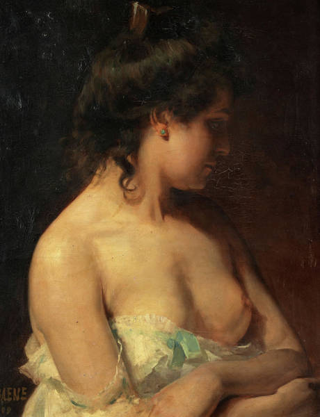 Wall Art - Painting - Young Woman In A Negligee by Jules Alphonse Debaene