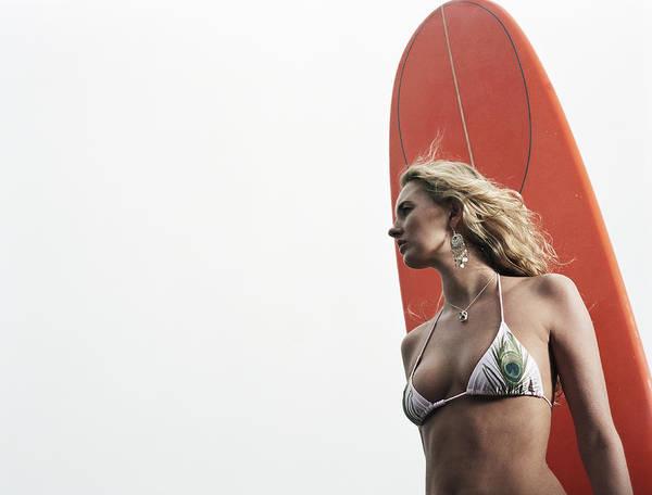 Wind Surfing Photograph - Young Woman In Bikini Holding Surfboard by Hitoshi Nishimura