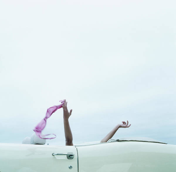 Freedom Photograph - Young Woman In Convertible Car, Arms by Jerome Tisne