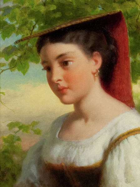 Wall Art - Painting - Young Woman In Traditional Italian Dress by MotionAge Designs