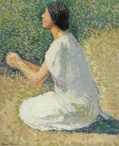 Kneeling Painting - Young Woman Kneeling by Henri-Jean Guillaume Martin