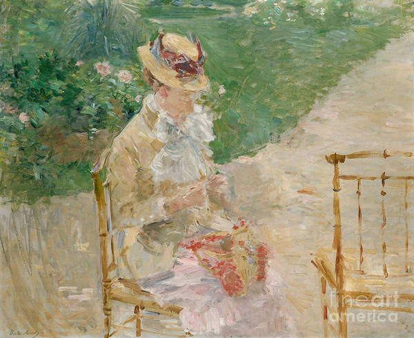 Embroidery Painting - Young Woman Knitting, Circa 1883 by Berthe Morisot