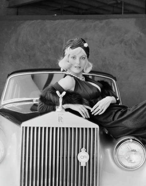 Confidence Photograph - Young Woman Leaning On Car, Portrait by Tom Kelley Archive
