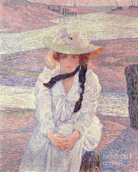 Wall Art - Painting - Young Woman On The Banks Of The Greve River, 1901 by Theo van Rysselberghe
