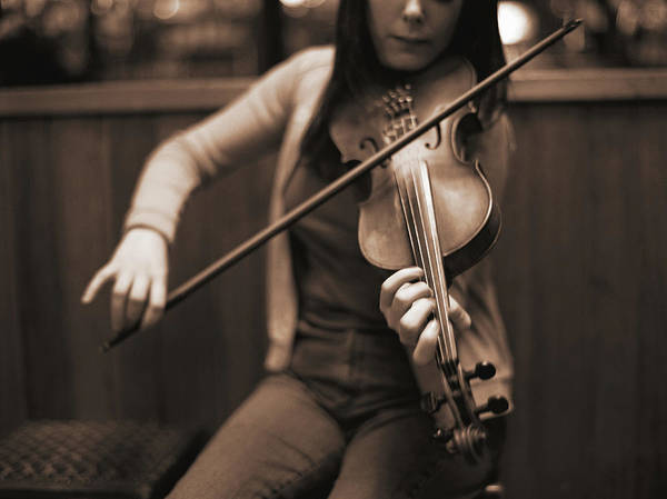 Wall Art - Photograph - Young Woman Playing Violin, Mid Section by David Sacks