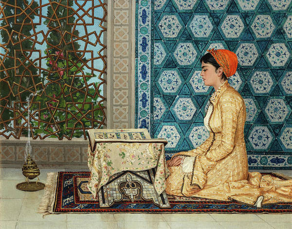 Painting - Young Woman Reading by Osman Hamdi Bey
