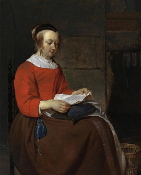 Wall Art - Painting - Young Woman Seated In An Interior, Reading A Letter by Gabriel Metsu