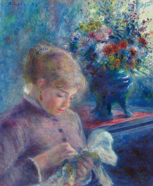 Painting - Young Woman Sewing by Auguste Renoir