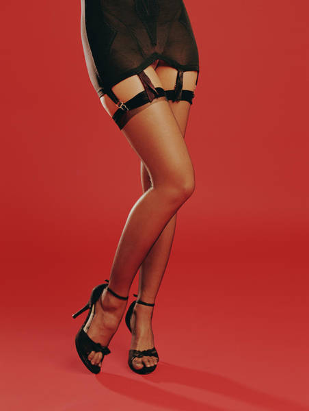 Garter Photograph - Young Woman Wearing Black Lingerie And by Lisa Peardon