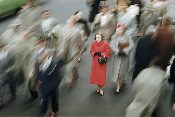 Photograph - Young Woman Wearing Red Coat Amongst by Alfred Gescheidt