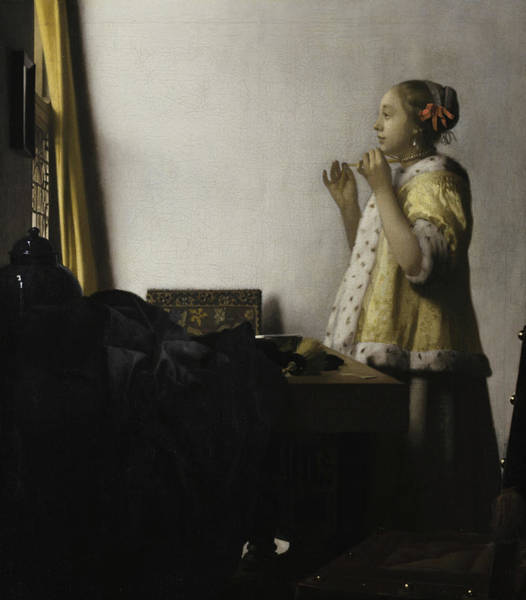Yellow Ribbon Painting - Young Woman With A Pearl Necklace, 1662 by Johannes Vermeer