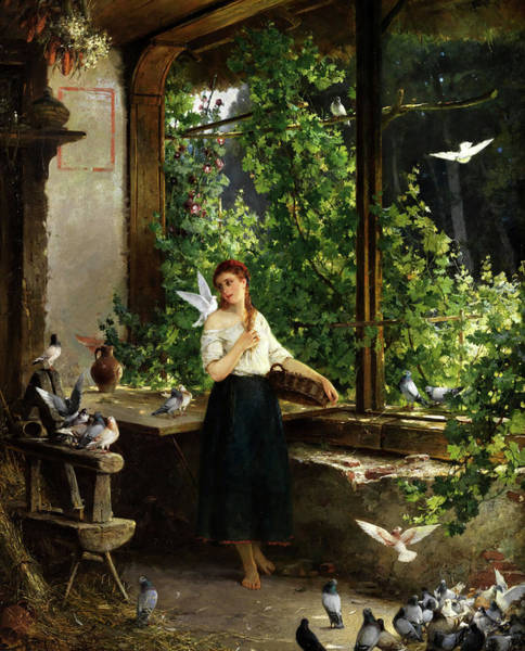 Wall Art - Painting - Young Woman With Doves by Carl Hoff