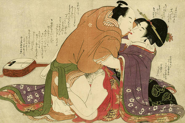 Wall Art - Painting - Young Woman With Lover And A Shamisen, 1799 by Kitagawa Utamaro