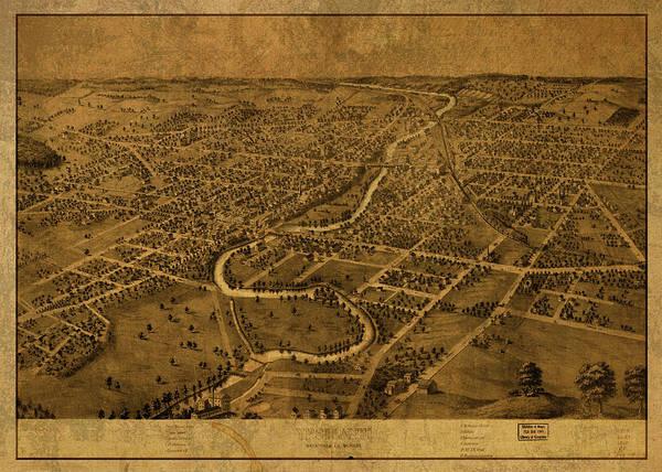 Wall Art - Mixed Media - Ypsilanti Michigan Vintage City Street Map 1868 by Design Turnpike
