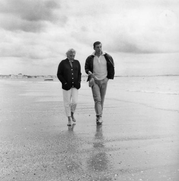 Husband Photograph - Yves Montand And Simone Signoret At La by Keystone-france