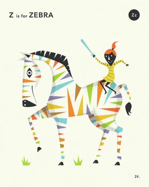 Wildlife Digital Art - Z Is For Zebra 1 by Jazzberry Blue
