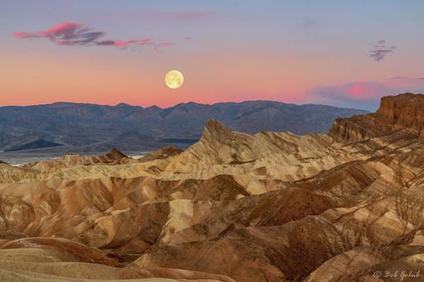 Death Valley Photograph - Zabriskie Point Sunrise And Moonset by Robert Golub